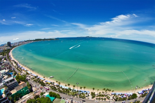 Pattaya beach and city  bird eye view, Thailand