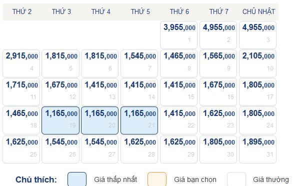 Bản giá vé máy bay Quy Nhơn đi Hà Nội tháng 5-2015