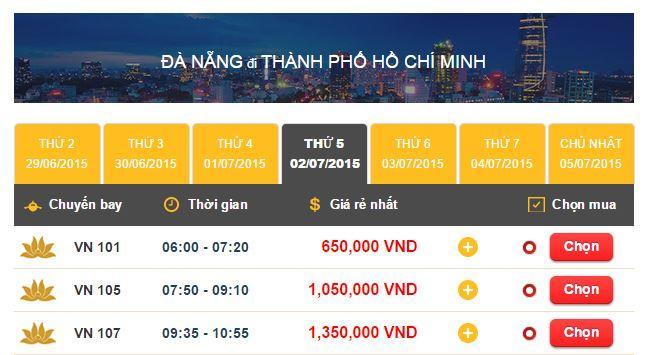 Vé máy bay đi Đà Nẵng - Sài Gòn