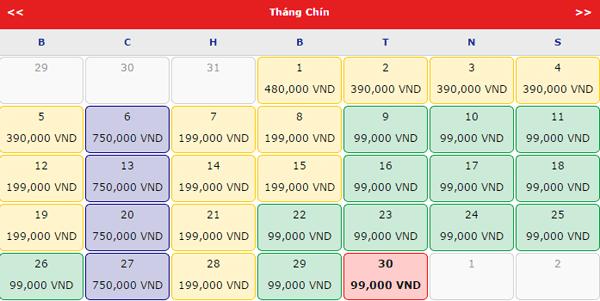Giá vé máy bay đi Nha Trang tháng 9