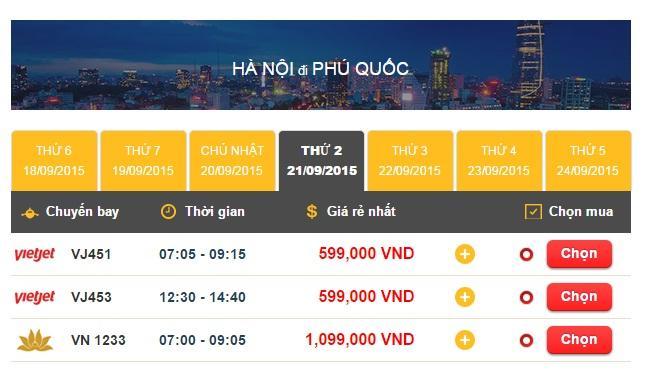 Vé máy bay Hà Nội - Phú Quốc