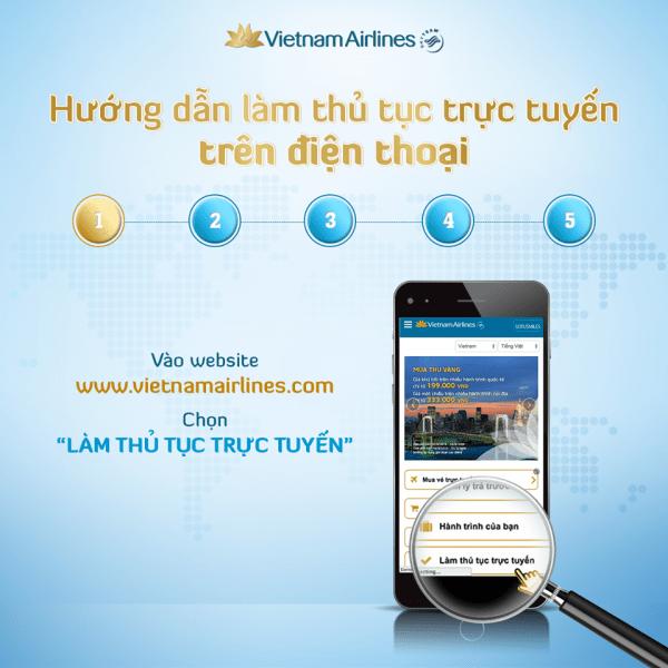 """Bước 1: Truy cập vào website: vietnamairlines.com và chọn """"Làm thủ tục trực tuyến"""""""