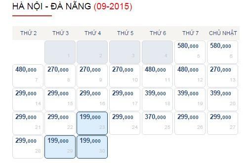 Vé máy bay Hà Nội - Đà Nẵng tháng 9
