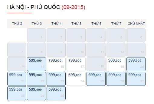 Vé máy bay giá rẻ Hà Nội đi Phú Quốc tháng 9