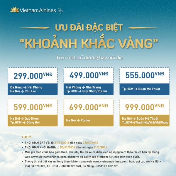 Vé máy bay giá rẻ Vietnam Airlines chỉ với 299000 đồng