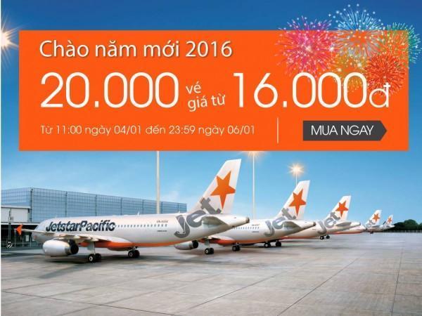20.000 vé bay giá chỉ 16.000 đồng áp dụng cho toàn mạng bay của Jetstar Pacific
