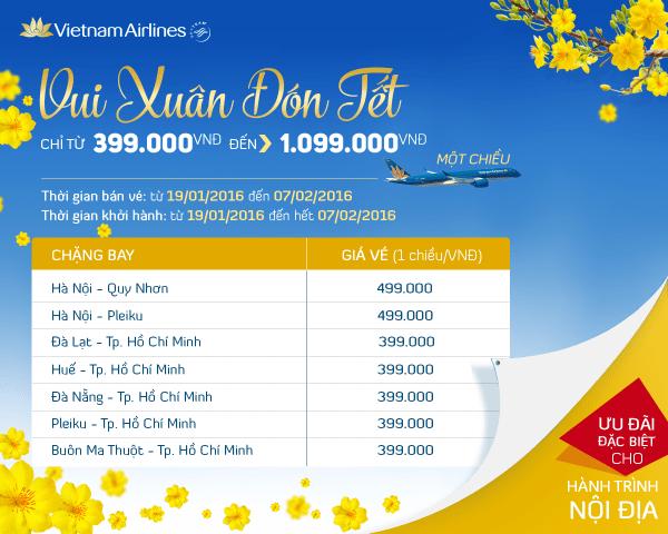 Vui xuân đón Tết với vé rẻ cực sốc của Vietnam Airlines