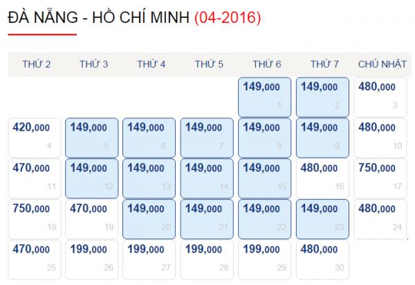 Vé máy bay Đà Nẵng đi Sài Gòn chỉ 149k