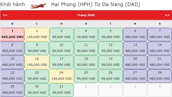 Vé máy bay khứ hồi Đà Nẵng đi Hải Phòng chỉ từ 99k