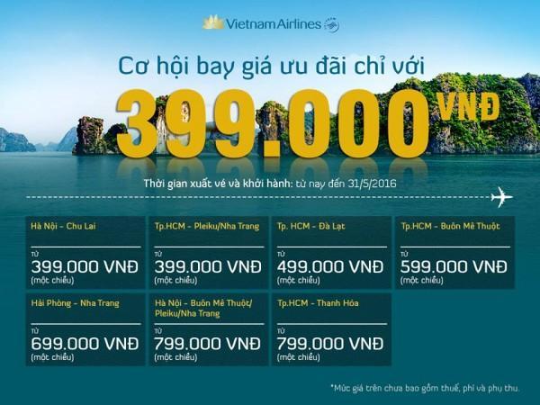 Bay thoả thích với giá vé ưu đãi chỉ 399k từ Vietnam Airlines