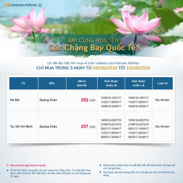 Vé máy bay giá rẻ đi hành trình Quốc Tế của VNA