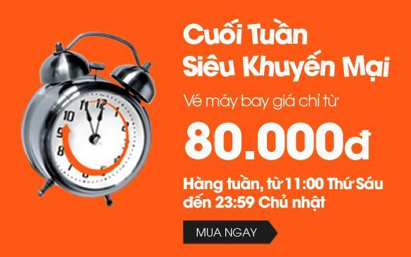 Khuyến mãi cuối tuần vé máy bay siêu rẻ chỉ từ 80000 đồng