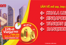 Săn vé mê say với hành trình Quốc Tế của Vietjet chỉ từ 0 đồng