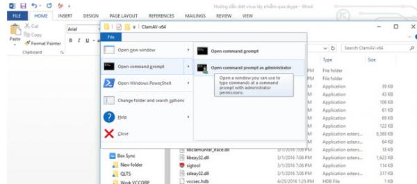 Run cmd với quyền admin ở thư mục C:\Program Files\ClamAV-x64.