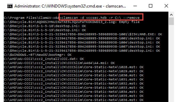 Xuất hiện hộp thoại Cmd, gõ lệnh sau: clamscan -d vccsec.hdb -r C:\ –remove