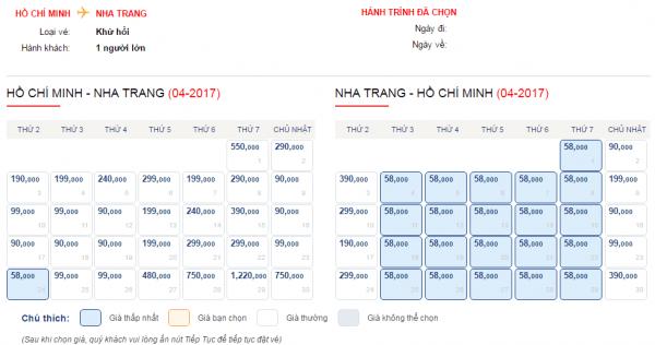 Vé máy bay đi Nha Trang tháng 4 chỉ từ 58k