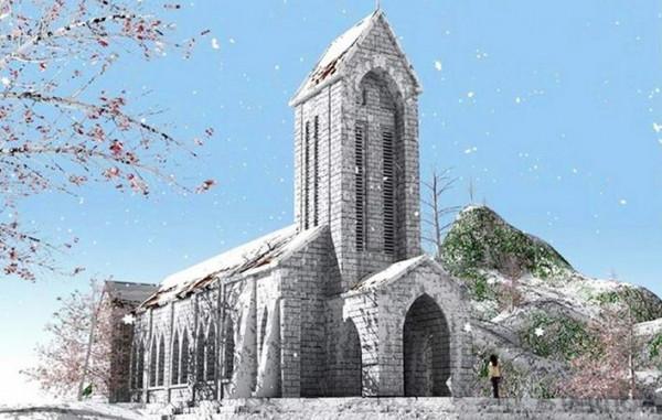 Nhà thờ đá Sapa ngày tuyết rơi