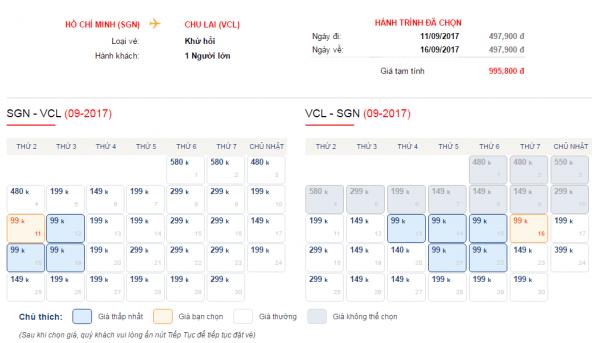Vé máy bay đi Chu Lai giá rẻ chỉ từ 99k