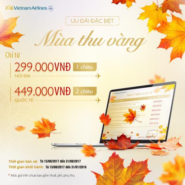 Vietnam Airlines mở bán vé máy bay giá rẻ chỉ từ 299k