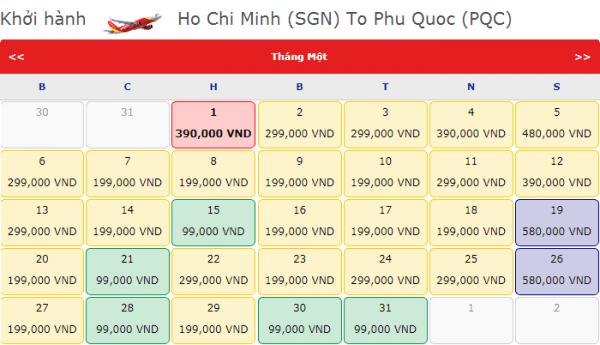 Vé máy bay đi Phú Quốc tháng 1 chỉ từ 90k