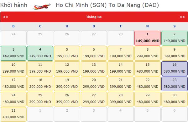 Vé máy bay đi Đà Nẵng giá chỉ từ 149k