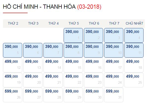 Vé máy bay đi Thanh Hóa tháng 3 chỉ từ 390k