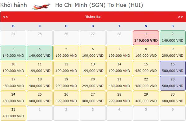 Vé máy bay đi Huế tháng 3 chỉ từ 149k