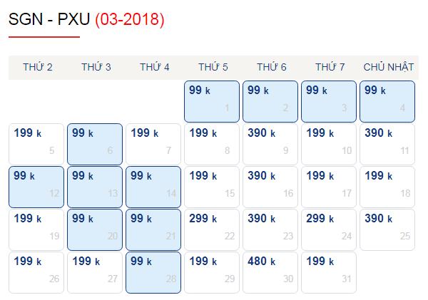 Vé máy bay đi Pleiku giá chỉ từ 99k