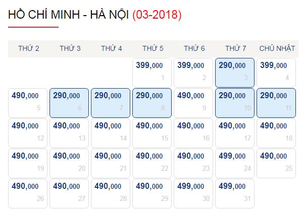 Vé máy bay đi Hà Nội tháng 3 chỉ từ 290k