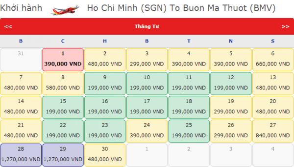 Vé máy bay đi Buôn Mê Thuột giá chỉ từ 199k