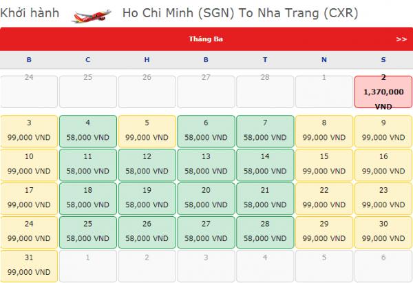 Vé máy bay đi Nha Trang giá chỉ từ 58k