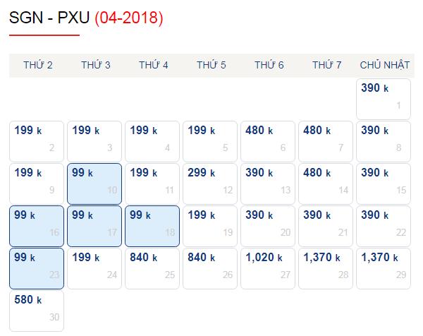 Vé máy bay đi Pleiku tháng 4 chỉ từ 99k