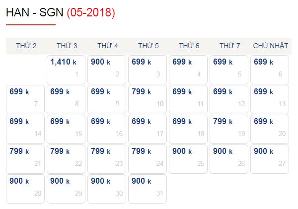Vé máy bay Ha Noi - Sai Gon giá chỉ từ 699k