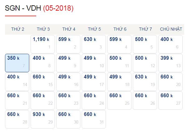 Vé máy bay đi Đồng Hới tháng 5 chỉ từ 350k