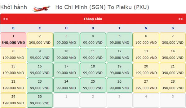 Vé máy bay đi Pleiku tháng 9 chỉ từ 99k