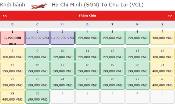 Vé máy bay đi Chu Lai giá chỉ từ 199k