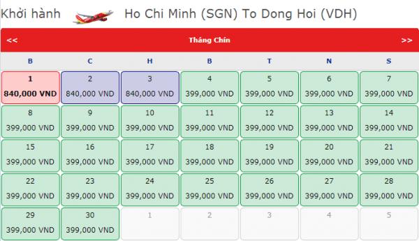 Vé máy bay đi Đồng Hới giá chỉ từ 399k