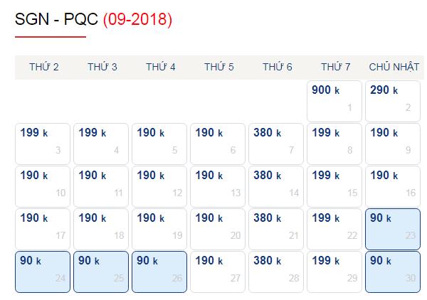 Vé máy bay đi Phú Quốc tháng 9 giá vé chỉ từ 90k