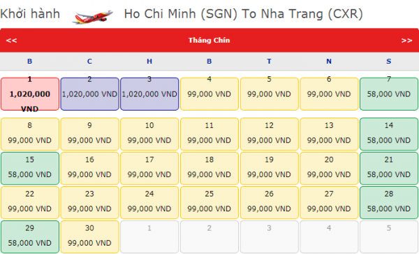 Vé máy bay đi Nha trang giá chỉ từ 99k