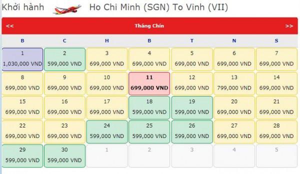 Vé máy bay đi Vinh trong tháng 9