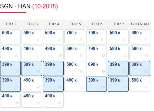 Hành Trình Sài Gòn - Hà Nội Trong Tháng 10 Chỉ Với 399k