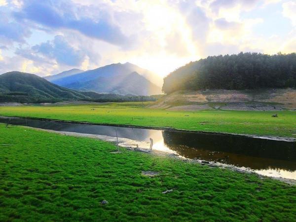 Hồ Hòa Trung Với Thảm Cỏ Xanh Mướt