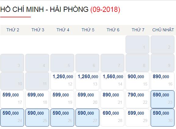 Vé máy bay Sài Gòn - Hải Phòng trong tháng 9