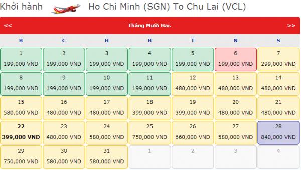 Vé máy bay đi Chu Lai chỉ từ 199k