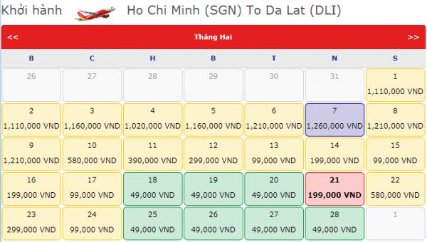 Vé máy bay đi Đà Lạt tháng 2/2109 giá chỉ từ 49k