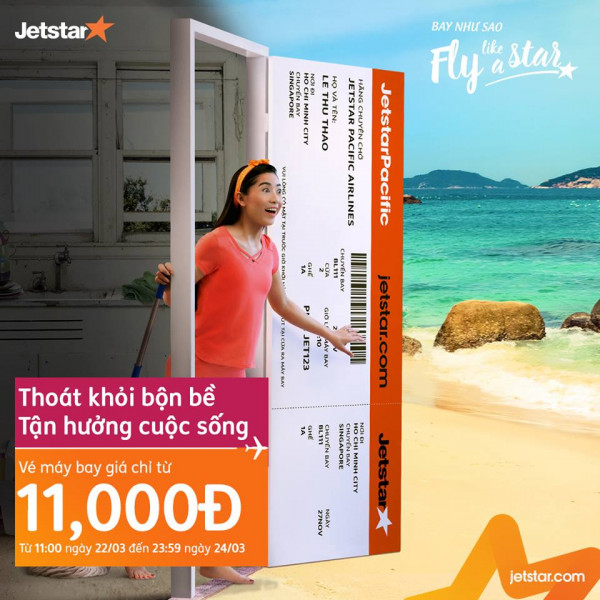 Jetstar Pacific mở bán vé máy bay giá chỉ từ 11.000 đồng