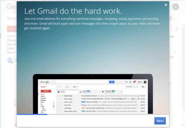 Xem màn hình giới thiệu Gmail để biết các thông tin về tài khoản Gmail mới.