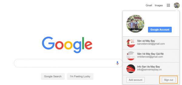 Nhấp vào nút Sign out để đăng xuất khỏi tài khoản Gmail mới của bạn.