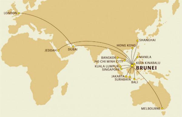 Đường bay của hãng máy bay Royal Brunei Airlines