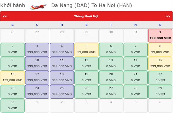 Vé máy bay Đà Nẵng đi Hà Nội giá chỉ từ 199k